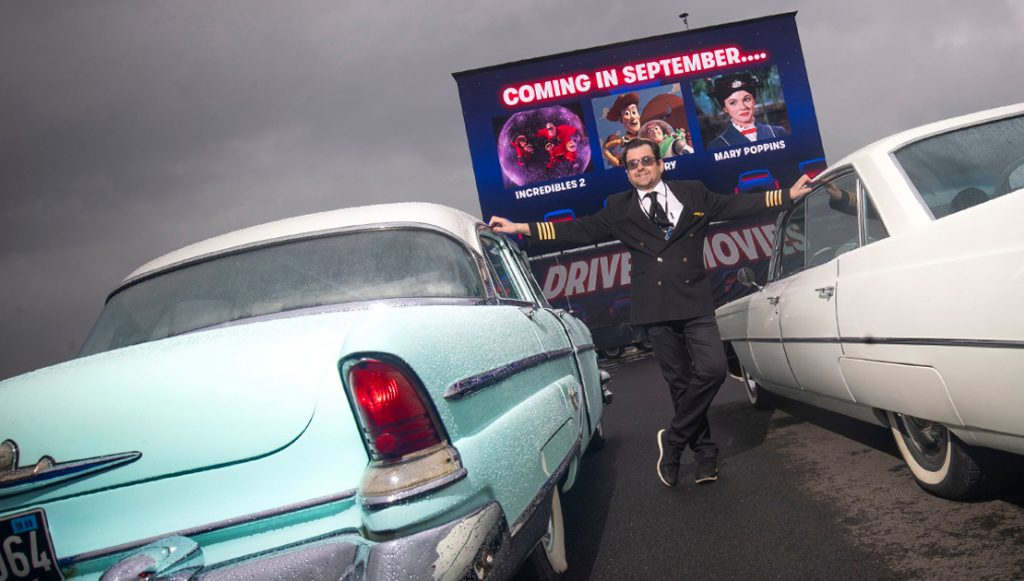 Stewart Calverto AKA Captain Calverto at Edinburgh airport for the Drive-In Movies - credit Lloyd Smith